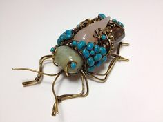 Iradj C D Semi Precious Stone Turquoise Citrines Quartz Grasshopper Pin | eBay