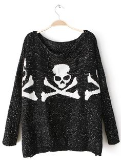 Black Batwing Long Sleeve Skull Pattern Sweater