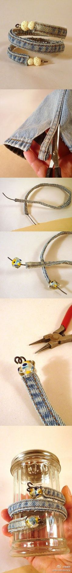 The pictures are self-explanatory.  I would love to make this bracelet.  Need: old jeans, wire, wire cutters, beads, and a jar.