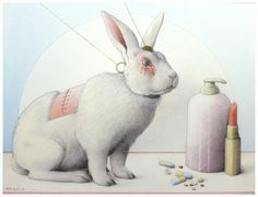"Jane Lewis ""Earthlings - Lipstick, Pills & Soap"" (graphite and coloured pencil on paper) Jane Lewis, Stop Animal Testing, How To Become Vegan, Animal Agriculture, Coloured Pencils, Animal Rights, Easter Bunny, Pikachu, Pills"