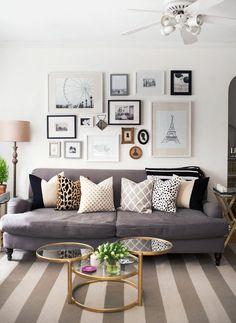 We spend most of our time at home in the living room. But not all of us organize living-room stuff well. Here are some ideas for your apartment living room. Home Living Room, Apartment Living, Living Spaces, Cozy Apartment, Small Living, Modern Living, Gallery Wall Living Room Couch, Apartment Therapy, Picture Wall Living Room