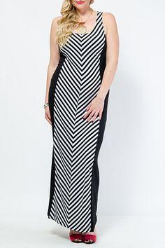 Stripe Panel Maxi Dress $27.99
