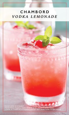Enjoy a deliciously fruity treat with this recipe for Chambord Vodka Lemonade. One sip of the combination of Chambord® raspberry liqueur, Finlandia® Vodka, lemonade, and lime juice and you'll be calling your girlfriends over for a brunch soiree worthy of this refreshing summer drink.
