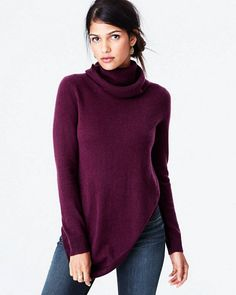 A trio of features — cowl neckline, asymmetrical hemline, and a flattering silhouette — might tempt you to fall for our newest cashmere turtleneck. Sublimely soft, our cashmere sweaters are colored using only certified eco-friendly dyes. Our Eco-Cashmere colors are made from the natural brown, beige, and white fibers that are left unbleached and undyed.