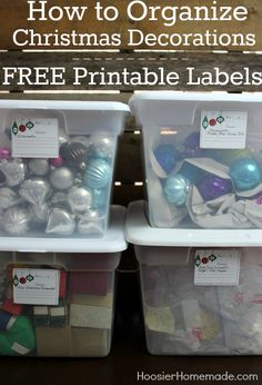 Learn how to organize your Christmas decorations and grab the FREE Printable Box Labels to help you! Pin to your Christmas Board!