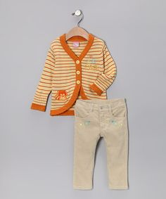 Look what I found on #zulily! Orange Raccoon Cardigan & Pants - Infant & Toddler by Sweet & Soft #zulilyfinds