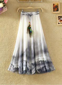 Print Floral Boho Style Long Skirt Huge Hem Chiffon Bohemian Skirt - 3 - Another! Chiffon Floral, Long Chiffon Skirt, Long Maxi Skirts, Casual Skirts, Chiffon Dress, Mini Skirts, Print Chiffon, Midi Skirt Outfit, Dress Skirt