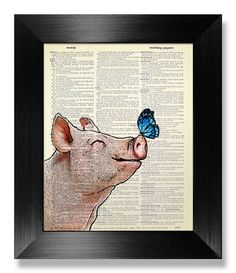 Blue Monarch BUTTERFLY Art Smile Pig Nursery Wall by MEOWconcept
