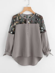Casual Embroidery and Asymmetrical and Contrast Mesh and Button and Knot Top Regular Fit Round Neck Long Sleeve Grey Embroidered Mesh Panel Dip Hem Tie Cuff Blouse. Girls Fashion Clothes, Teen Fashion Outfits, Grey Fashion, Trendy Outfits, Fashion Dresses, Blouse Styles, Blouse Designs, Abaya Fashion, Ootd Fashion