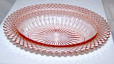 This is a Depression Glass oval vegetable bowl in the Miss America pattern made by Hocking Glass. It measures 10 inches long and is in very nice condition with no chips or cracks.