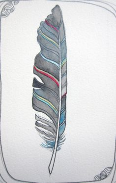 Feather art Watercolor painting 5x7 - Lightness