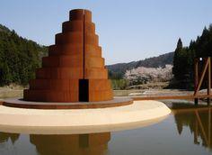 Corten Steel Step Pagoda, Murou Art Forest, Nara, Japan designed by Dani Karavan