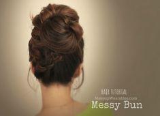 Hair tutorial : big, messy bun with braids video| everyday hairstyles & updos for medium long hair