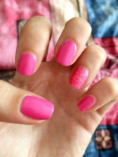 Pink glittery nail art, easy nail art at home