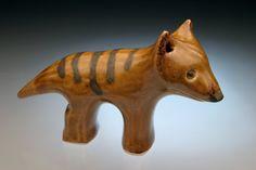 Thylacine animal sculpture; Tasmanian Tiger;