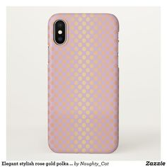 Elegant stylish rose gold polka dots pattern pink iPhone x case Pretty Iphone Cases, Pink Phone Cases, Pink Iphone, Iphone 7, Iphone 8 Plus, Rose Gold, Stylish, Polka Dots, Apple