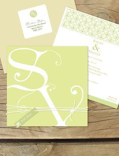 Budding monogram - citrus Lilykiss wedding invitation.