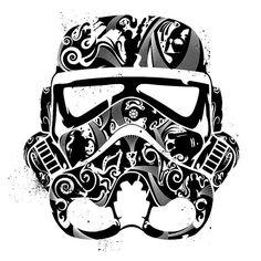 Illustrated Storm Trooper mask
