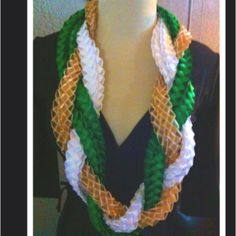"""Sac State Graduation Lei. Made with 60 yards of 3/8"""" ribbons."""