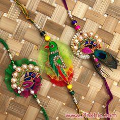 Perfect Combo Of Parrot With Peacock Rakhis Gold Bangles Design, Jewelry Design, Rakhi Pic, Raksha Bandhan Pics, Rakhi Images, Rakhi Wishes, Buy Rakhi Online, Handmade Rakhi Designs, Rakhi Making