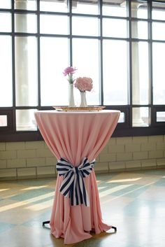 Blush Cocktail Tables With Preppy Stripe Accent