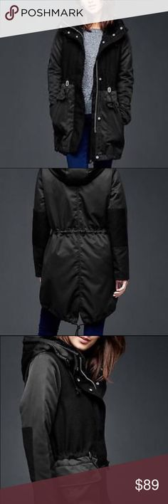 GAP 3 in 1 Twill Wool Hood Parka Coat XS Smooth and durable woven twill outer, woven wool blend contrast layer and elbow patches, cozy faux fur lines hood, drawcord ties, vertical snap pocket at chest, front welt pockets with flap. Gently used, from smoke free, pet friendly home. GAP Jackets & Coats