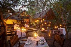 An outdoor dining area, Pondoro Game Lodge, Balule Private Nature Reserve, Limpopo. National Park Lodges, Kruger National Park, Africa Destinations, Travel Destinations, Restaurant Patio, Game Lodge, Private Games, Best Budget, Nature Reserve