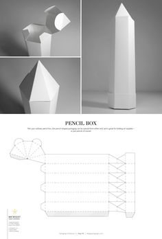 Pencil Box – structural packaging design dielines