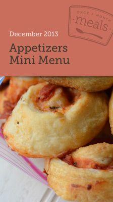 Appetizer Mini Menu - Once A Month Meals #superbowl