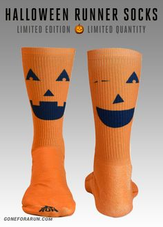 Halloween Running Socks! Jack O' Lantern! exclusively from goneforarun.com