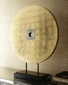 Round Gold-Leaf Sculpture on Stand - Neiman Marcus