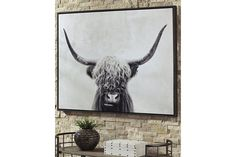 Pancho Framed Highland Cow Wall Art, Gray, Signature Design by Ashley Canvas Wall Art, Canvas Prints, Art Prints, Cow Wall Art, Texas Wall Art, Wall Décor, Black And White Wall Art, Black White, Best Canvas