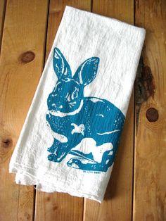 Siebdruck Biobaumwolle Kaninchen Mehl Sack von ohlittlerabbit, $10.00