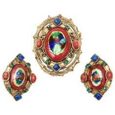 Preowned Hattie Carnegie Enamel, Rhinestone & Glass Pin/ Pendant And... ($575) ❤ liked on Polyvore featuring jewelry, earrings, brown, vintage pendants, glass pendants, vintage clip earrings, brown earrings and enamel earrings