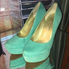 Jessica Simpson Waleo size 7 Suede Tiffany blue pumps worn once!! Size 7 Jessica Simpson Shoes Heels