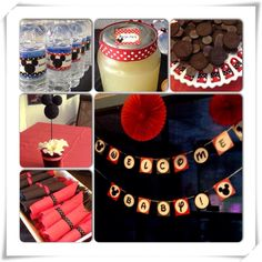 Mickey Mouse baby shower, non gender, black, white, red