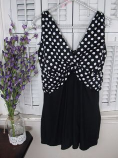 58e73e517c LONGITUDE White Dots Swimdress Swimsuit-Black/White Polka Dot Plus size 16W