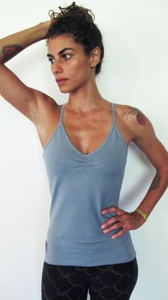 Saraswati -Halter/racer back vest / tank. Yoga top - yoga clothes - dance - fitness. Blue grey $39.95, via Etsy.