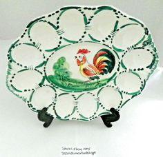 Rooster Deviled Eggs Dish/Italian Pottery 12 Deviled Eggs Ceramic/Porcelain VGUC