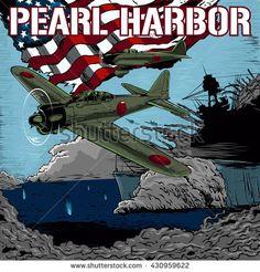 Attack on Pearl Harbor vector illustration.