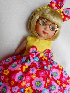"""FLOWER POWER RED Doll Dress For Ann Estelle 10"""" Lalaloopsy"""