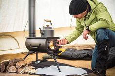 Dubbed the Frontier Plus and made by Cornwall, UK based company Anevay, this lightweight stove features a larger flue than other portable wood stoves, as well as a glass window on its front door.