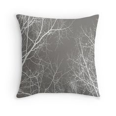 Branches Impressions Throw Pillow by artbyjwp from Redbubble #throwpillow #pillows #cushion #homedecor #gray #minimalist #pillowcover