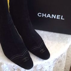 """AUTHENTIC CHANEL BLK SUEDE BOOTS Chanel mid calf boots. Brand new soles & heel lifts.. True to size 38/8. Zip up sides w/Chanel Logo on zipper pull. 3"""" heels. Slight scuffs from normal wear. Very good condition. NO TRADES. Reasonable Offers only please. CHANEL Shoes"""