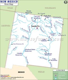 Map Of State Of New Mexico With Outline Of The State Cities - 5 major us rivers map