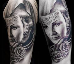 Skull with Mask tattoo by Steffi Eff