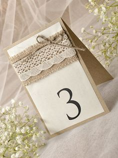 Lace Rustic Wedding Table Number Grey Table von forlovepolkadots