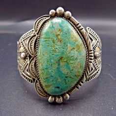 Signed Vintage NAVAJO Hand-Stamped Sterling Silver & TURQUOISE Cuff BRACELET | eBay
