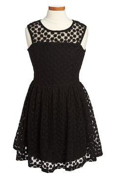 Ella Moss 'Taylor' Embroidered Mesh Fit & Flare Dress (Big Girls) available at #Nordstrom