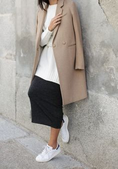 Work sneakers back with mid length skirt. www.stylestaples.com.au